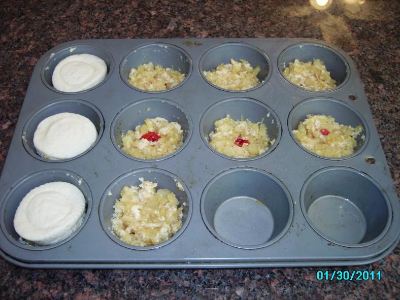 Preparing the Pineapple Upside Down Biscuits