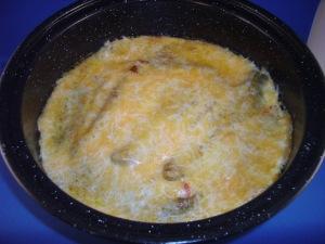 Chili Relleno Casserole baked in the solar oven