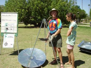 Parabolic solar cooker at Great Solar Cookout 2011