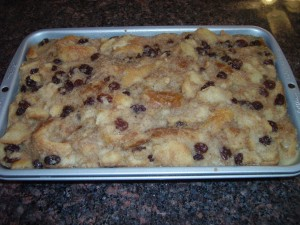 Old Fashioned Bread Pudding baked in a solar oven