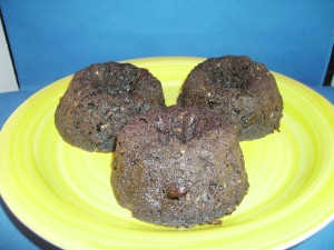 Chocolate Zucchini bread in mini bundt pan baked in solar oven