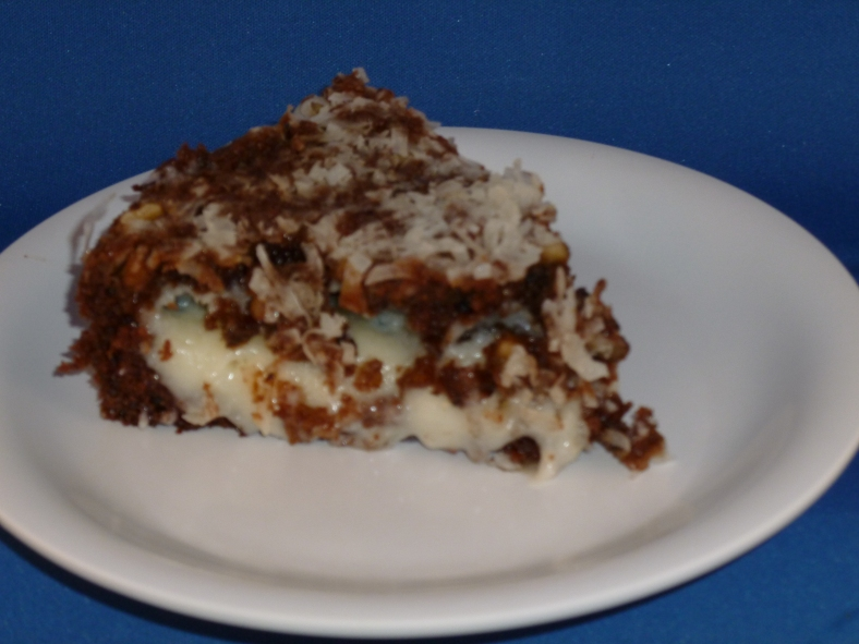 German Chocolate Upside Down Cake in solar oven