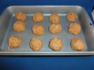 Classic Sausage Cheese Balls ready to bake in the solar oven.