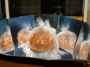 Whole pumpkin baked in a CookIt solar oven