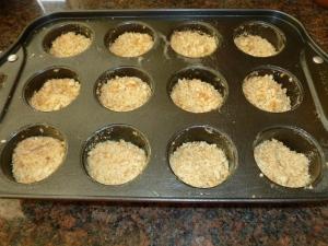 crushed vanila wafers in mini cheesecake pan