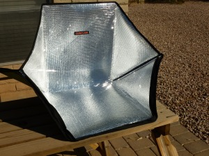 The SunFlair Solar Oven can be taken anywhere because it is light weight and portable.