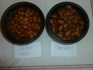 Pinto Beans cooked in a solar oven vs the crockpot