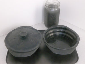 Black Silicon pots, black cookie sheet, black painted canning jar